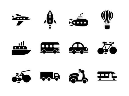 Transportation icon set with glyph style. Suitable for any purpose.