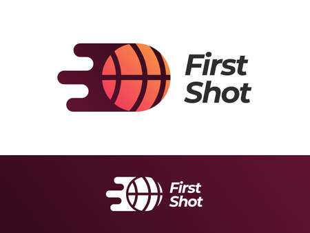 First Shot logo design with gradient style. Inspired by basketball, move, and speed. Suitable for sport clubs and companies.