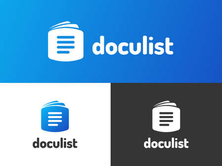 Doculist logo design with gradient style. Inspired by writing, list, and document. Suitable for writers, mass medias, and service companies.