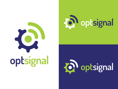 Optsignal logo design with flat style. Inspired by signal, connection, manage, and tool. Suitable for network services, mobile apps, and technology companies.