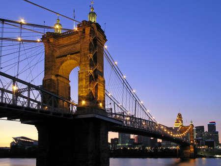 riverfront: The Roebling Suspension Bridge in Cincinnati, Ohio.