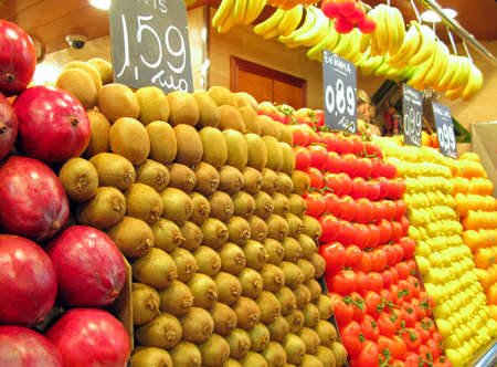 boqueria: Fruits and vegetables at produce stand at La Boqueria (public market) in Barcelona, Spain.