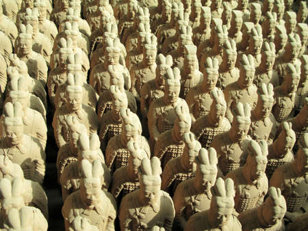 Miniature replicas of Terracotta Army buried with the Emperor of Qin ni 209-210 BC in Xian, China. Editorial