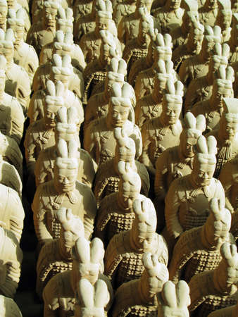 Miniature replicas of Terracotta Army buried with the Emperor of Qin in 209-210 BC in Xian, China.