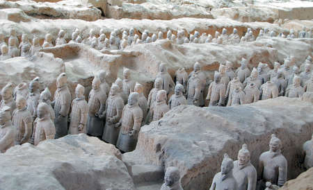 terracotta: Terracotta Army buried with the Emperor of Qin in 209-210 BC in Xian, China.