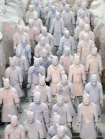 emperor of china: Terracotta Warriors buried with the Emperor of Qin in 209-210 BC in Xian, China.