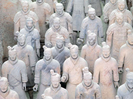 Terracotta Warriors buried with teh Emperor of Qin in 209-210 BC in Xian, China.