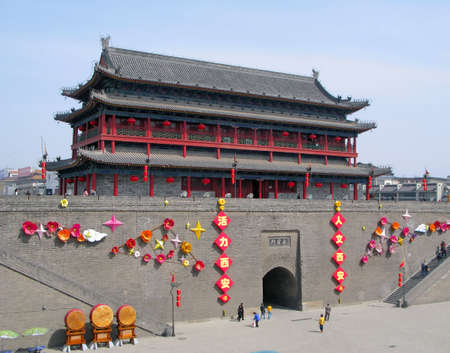 far eastern: Ancient city wall and gate in the city of Xian, China.