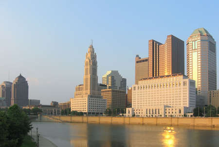 Evening view of the Columbus, Ohio skyline and Scioto River. photo