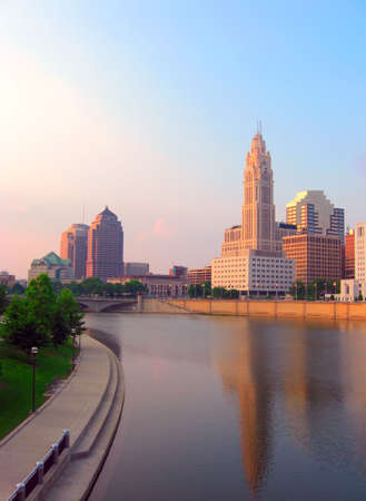 Evening view of downtown Columbus, Ohio and the Scioto River. photo