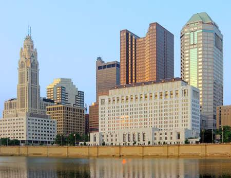 ohio: View of the Columbus, Ohio skyline at sunset. Stock Photo
