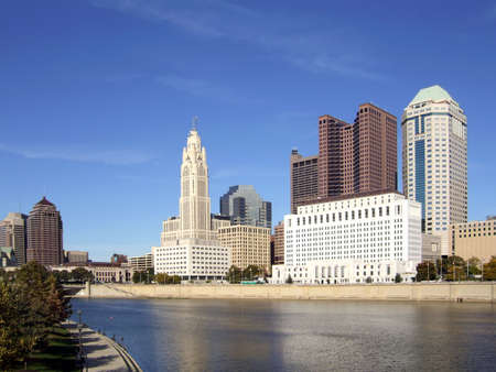 View of Columbus, Ohio and the Scioto River.