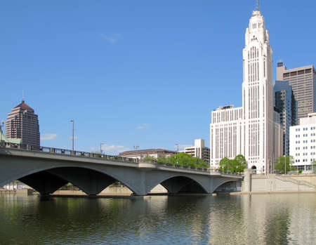 columbus: Leveque Tower, Broad Street Bridge, and Scioto River in Columbus, Ohio.