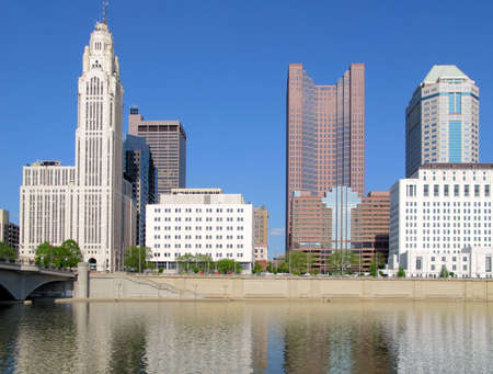 Columbus, Ohio skyline and the Scioto River. photo