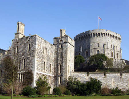 windsor: The Round Tower of Windsor Castle in the English county of Berkshire. Stock Photo