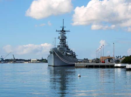 Battleship Missouri Memorial at Pearl Harbor in Honolulu on the island of O'ahu in Hawaii.