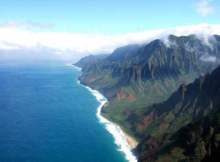 na: Aerial view of the Na Pali Coast on the island of Kauai in Hawaii. Stock Photo