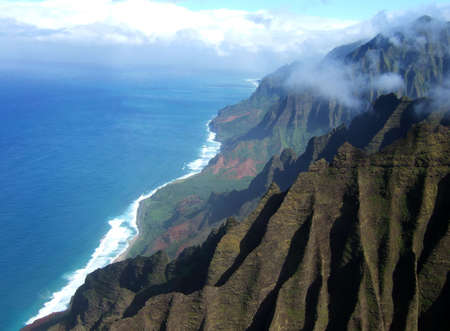 coast line: Aerial view of the Na Pali Coast on the island of Kauai in Hawaii. Stock Photo