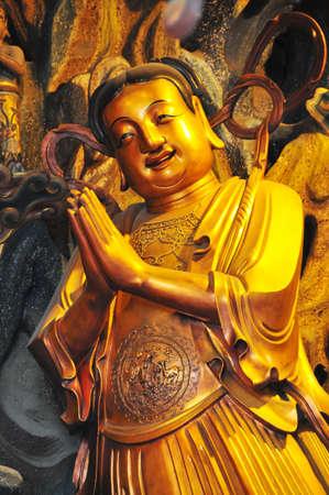buddha image: Buddha image at the Jade Buddha Temple in Shanghai, China.