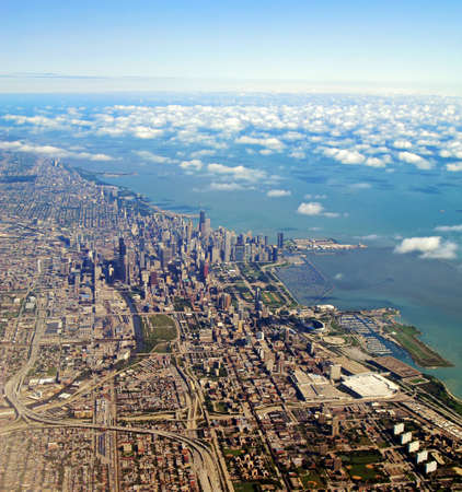 Aerial view of Chicago, Illinois and Lake Michigan. photo