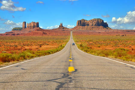 Highway 163 approaching Monument Valley on the border of Arizona and Utah. photo