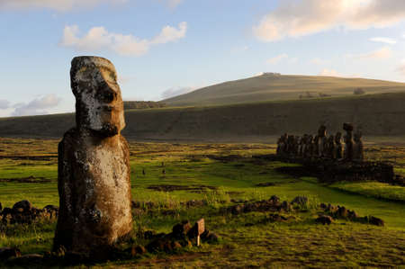 Moai sit on Easter Island on February 5, 2012. The giant monuments were carved from volcanic stone and face away from the mythical spirit world of the sea.