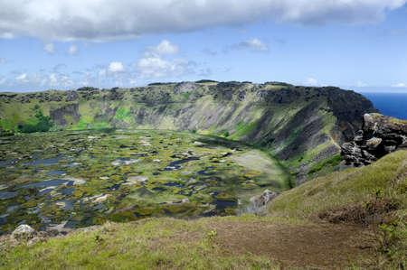 The crater on Easter Island Stock Photo