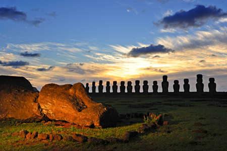 easter island: Moais of Ahu Tongariki at sunrise on Easter Island, Chile