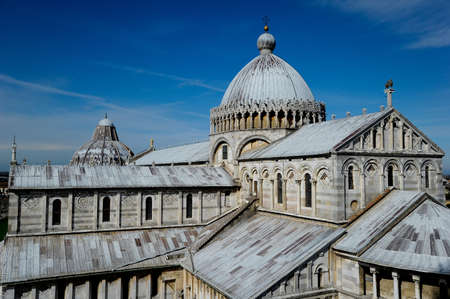 The Pisa Cathedral viewed from the Leaning Tower of Pisa in Pisa, Italy Banco de Imagens - 24733405