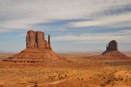 butte: West Mitten Butte and East Mitten Butte  The Mittens  at Monument Valley