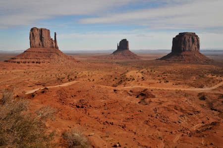 monument valley view: View of West Mitten Butte, East Mitten Butte, and Merrick Butte in Monument Valley