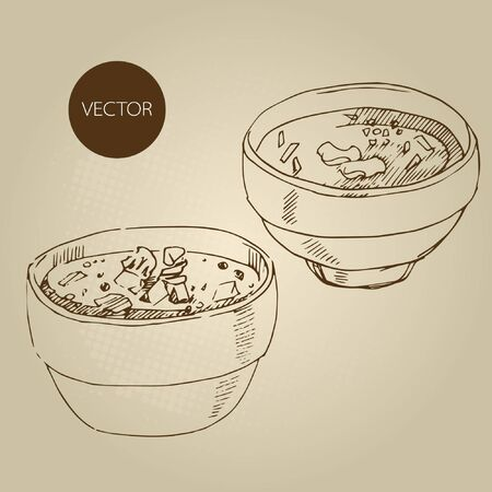 meat soup: Vector hand drawn food sketch Russian national traditional kitchen Solyanka meat soup. Borscht set. Illustration