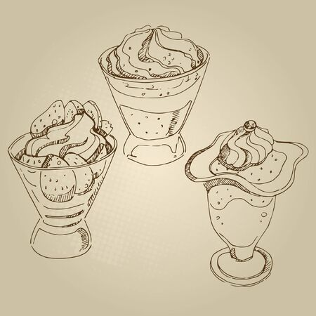 souffle: Vector hand drawn food sketch fruit souffle with cream and jelly set.