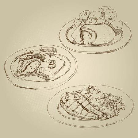 salmon fillet: Vector hand drawn food sketch Russian national traditional kitchen cutlet Kiev and stewed potatoes, cabbage rolls, stuffed cabbage, salmon, lemon, rice with vegetables. Illustration