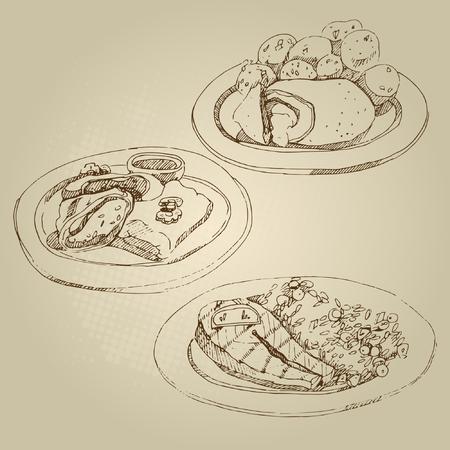 Wektor ręcznie rysowane szkic żywności Rosyjski krajowych tradycyjna kuchnia kotlet Kijów i duszone ziemniaki, gołąbki, gołąbki, łosoś, cytryna, ryż z warzywami.