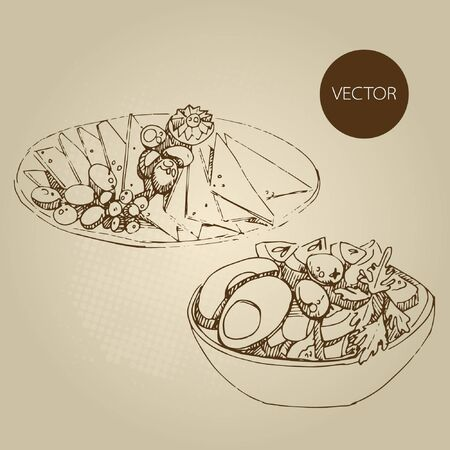 Vector hand drawn food sketch cold appetizers, cucumbers, tomatoes, fat, greens, spices.