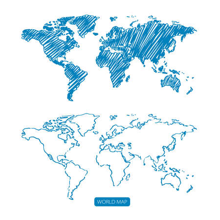 Scribble sketch of World map,Vector illustration hand draw
