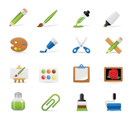 watter: Painting icons set Illustration