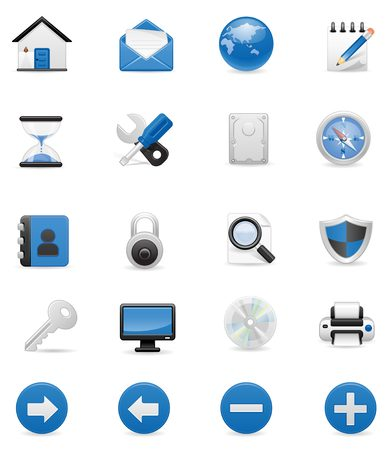 Blue Computer icon set,  Illustration