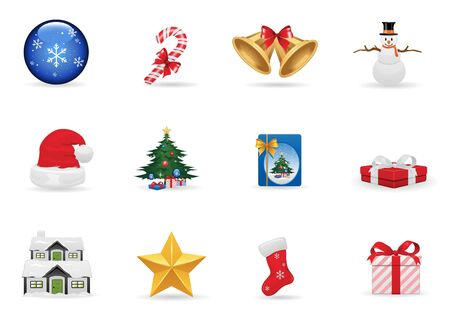 Christmas icons set Illustration