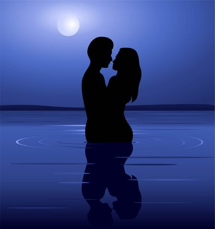 The Night Of Love Vector Image Illustration