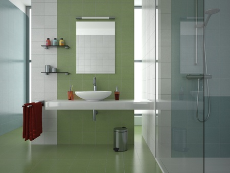 modern bathroom with green, white and blue tiles Stock Photo