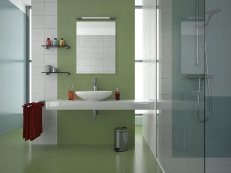 salle de bains: salle de bain moderne avec des tuiles de verts, blancs et bleus