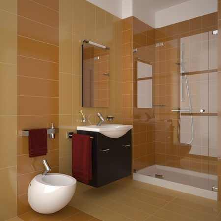modern bathroom with orange tiles Stock Photo