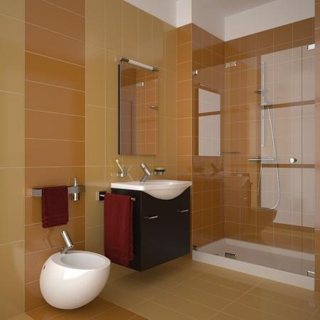 modern bathroom with orange tiles Stock Photo
