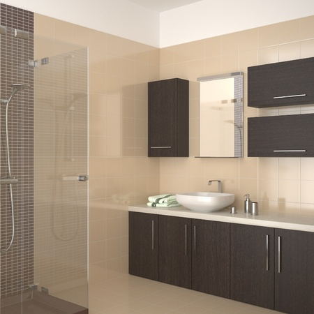 modern bathroom with dark wood equipment photo