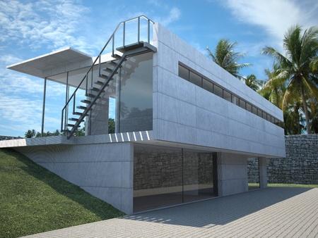 case moderne: casa moderna - veduta esterna con le palme