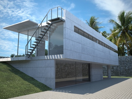 modern house - exterior view with palms photo