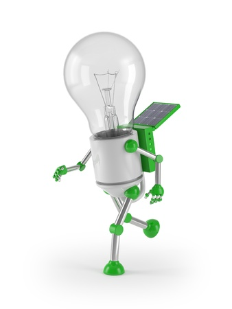 renewable energy - light bulb robot run photo