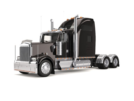 semi truck: black american truck isolated on white background Stock Photo
